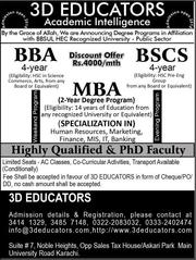 BS(CS),  BBA & MBA In Just Rs.4000/Month By 3D Educators