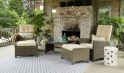 Indoor / Outdoor 5 Piece Wicker Recliner Set