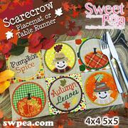 Halloween Machine Embroidery Design - Scarecrow Table Runner